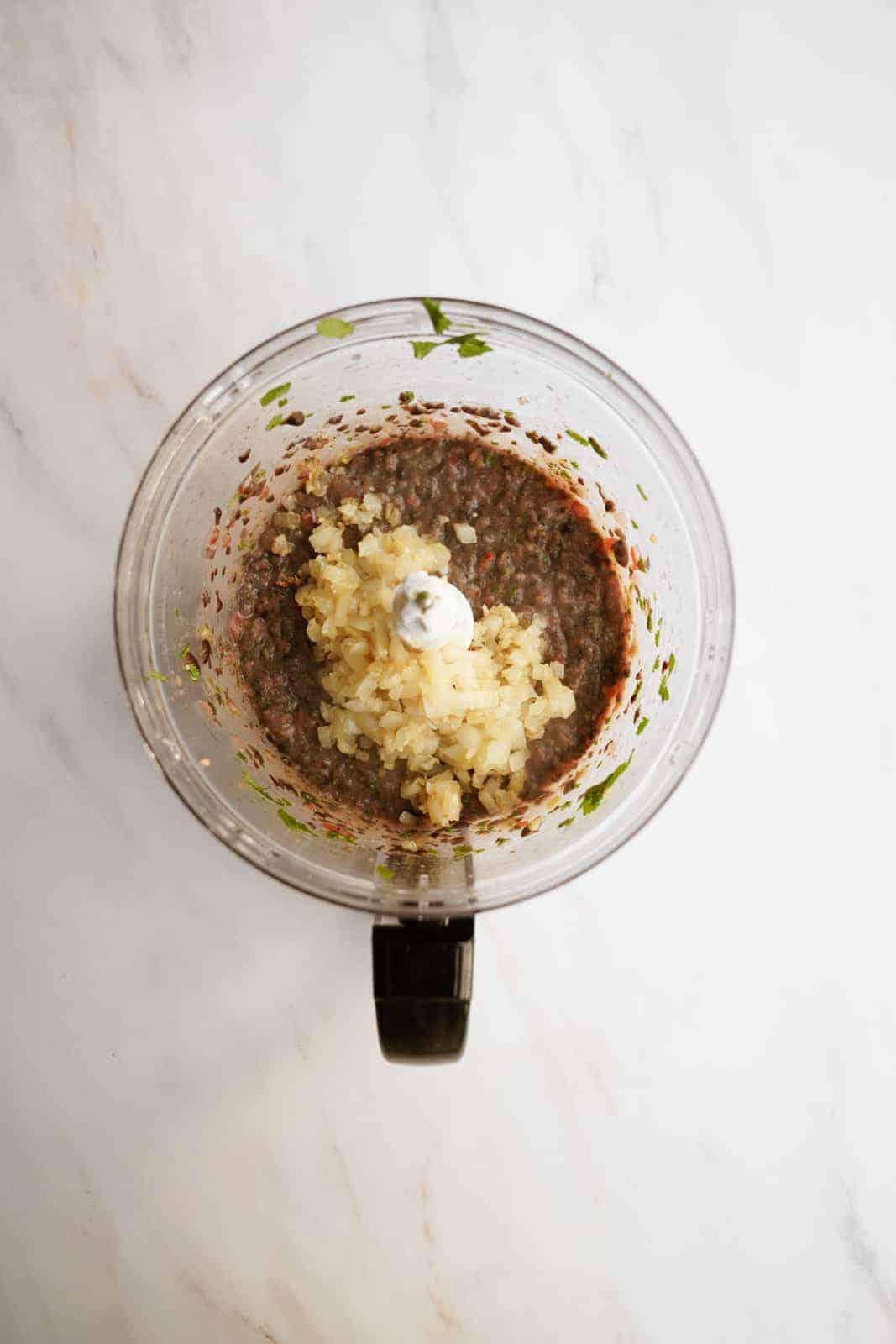 Black Bean Dip ingredients in a food processor.