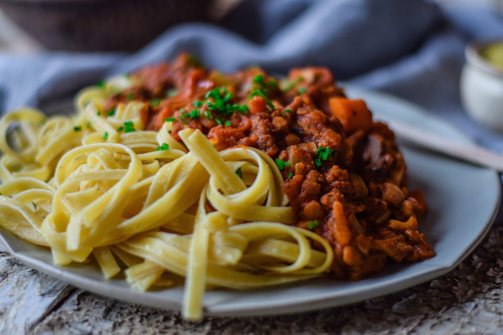 Close-up of plant based pasta on dish.