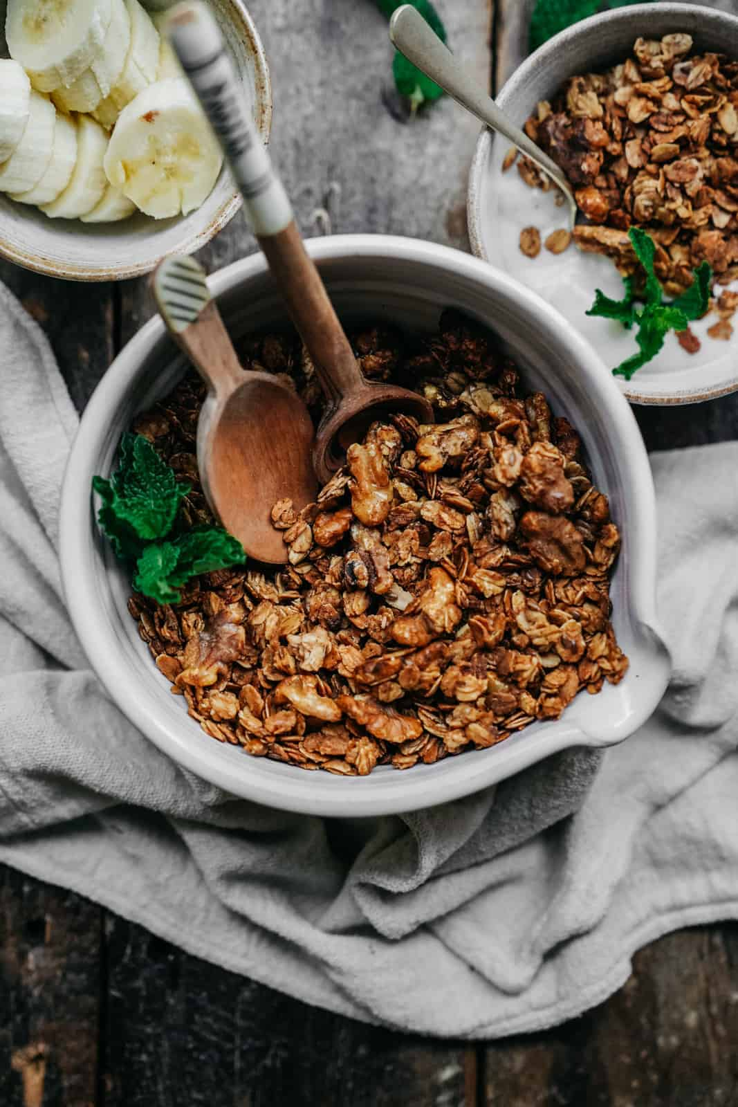 Fresh granola in a serving bowl, a great recipe to add to your mother's day brunch recipes