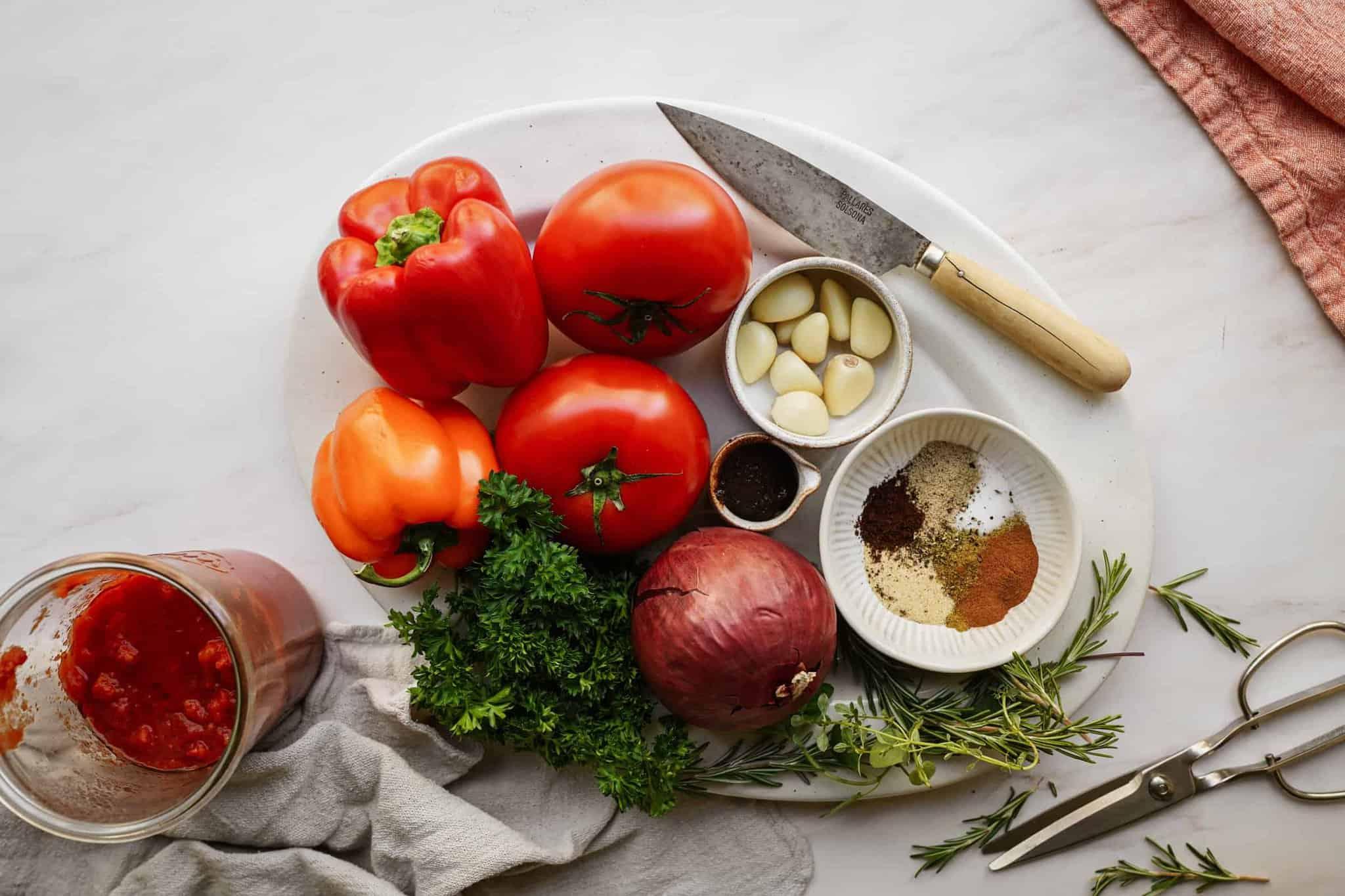 Ingredients for healthy vegan pasta sauce