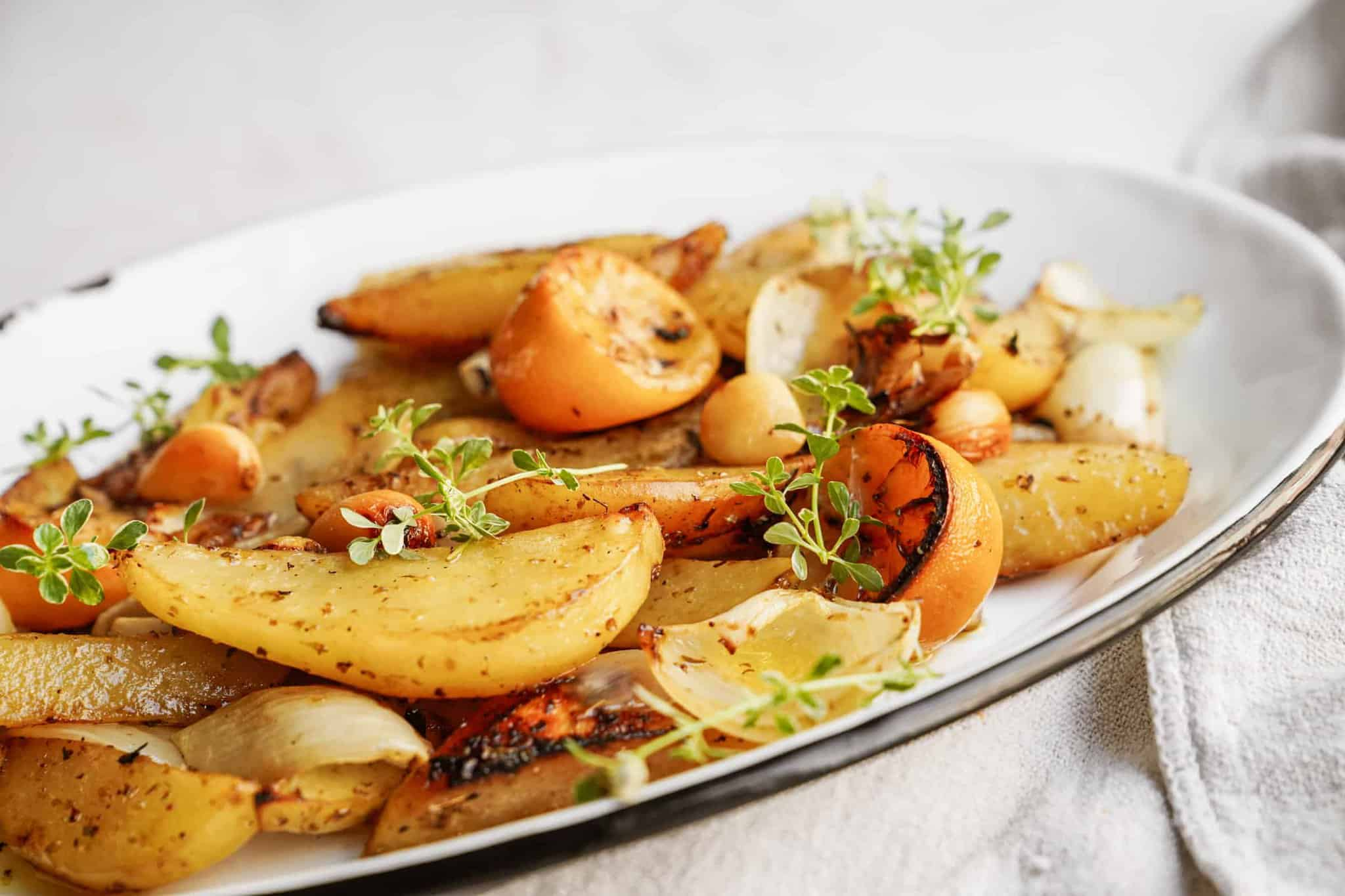 Tray of Greek style potatoes