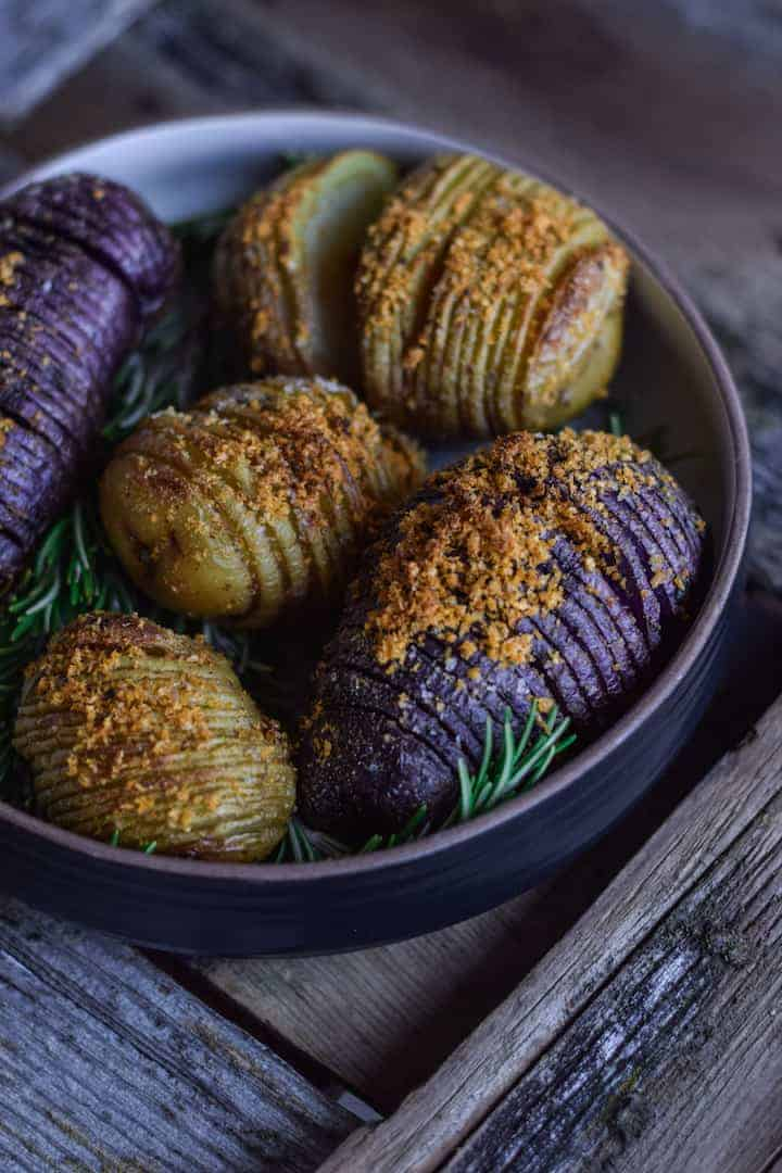 Close-up of hasselback potatoes in a bowl