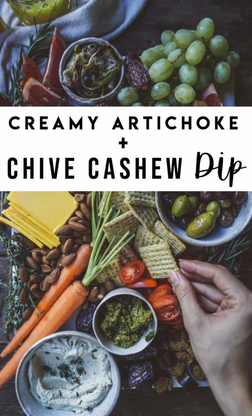 Say hello to my creamy artichoke and chive cashew dip, here just in time for the holidays. It's the perfect vegan alternative to your average spinach dip.