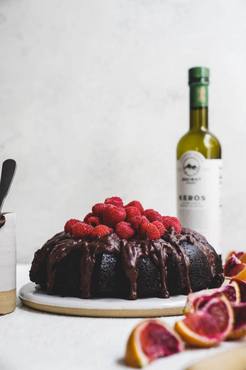 This chocolate brownie olive oil bundt cake is pure decadence and the perfect vegan indulgence thanks to the Ancient Foods Keros Olive Oil I used.