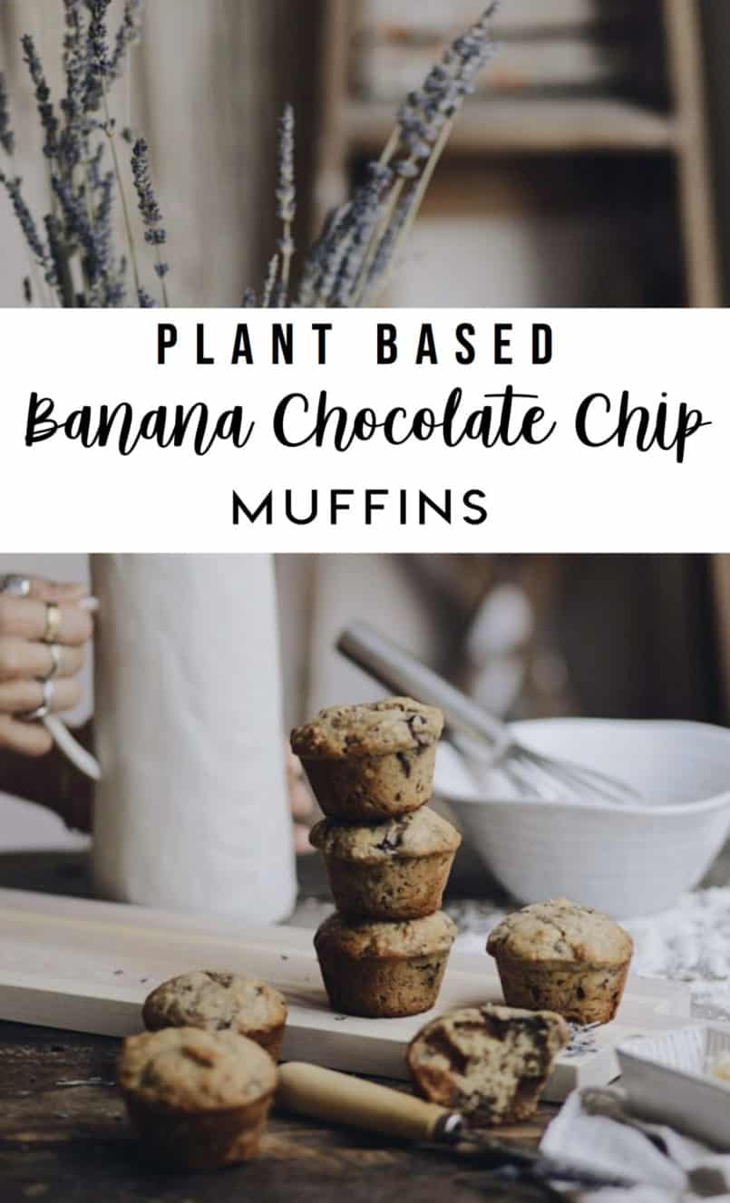 I always have a batch of plant-based banana chocolate chip muffins in the house. They are so easy to whip up and save me every time I need a quick snack.