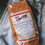 Bob's Red Mill red lentils on counter