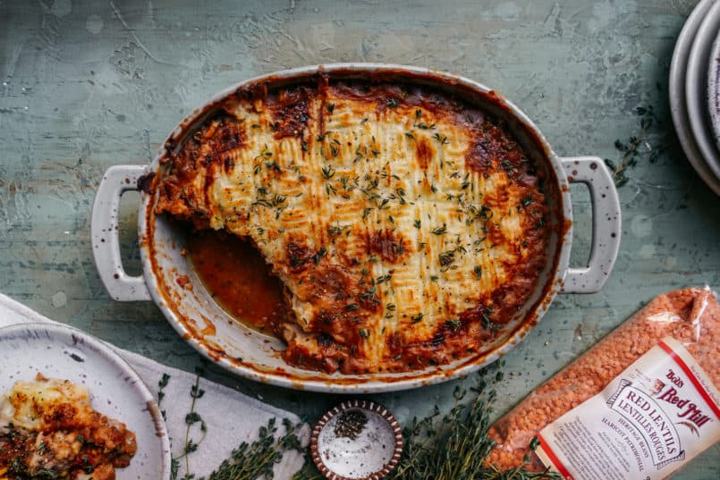 We are stuck in the middle of a polar vortex and all I want to do is eat this warm, plant-based, comfort in a casserole dish, shepherd's pie.