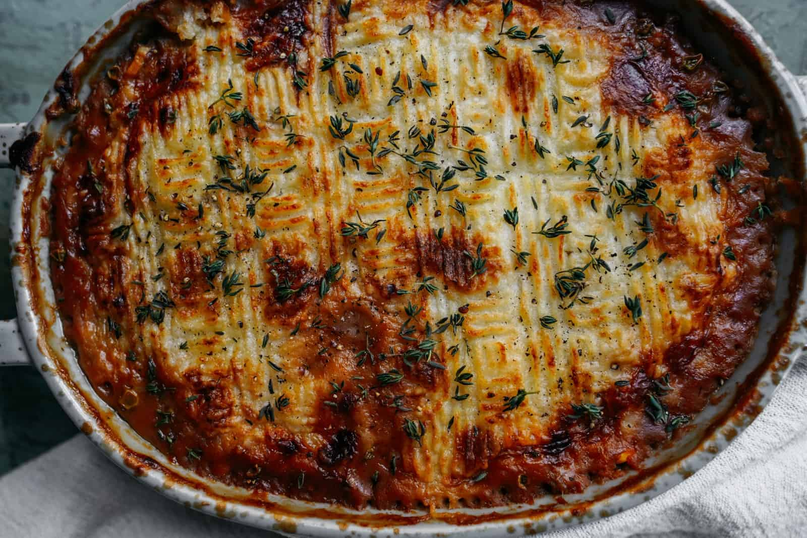 Close-up of vegan Shepherd's Pie in a baking dish