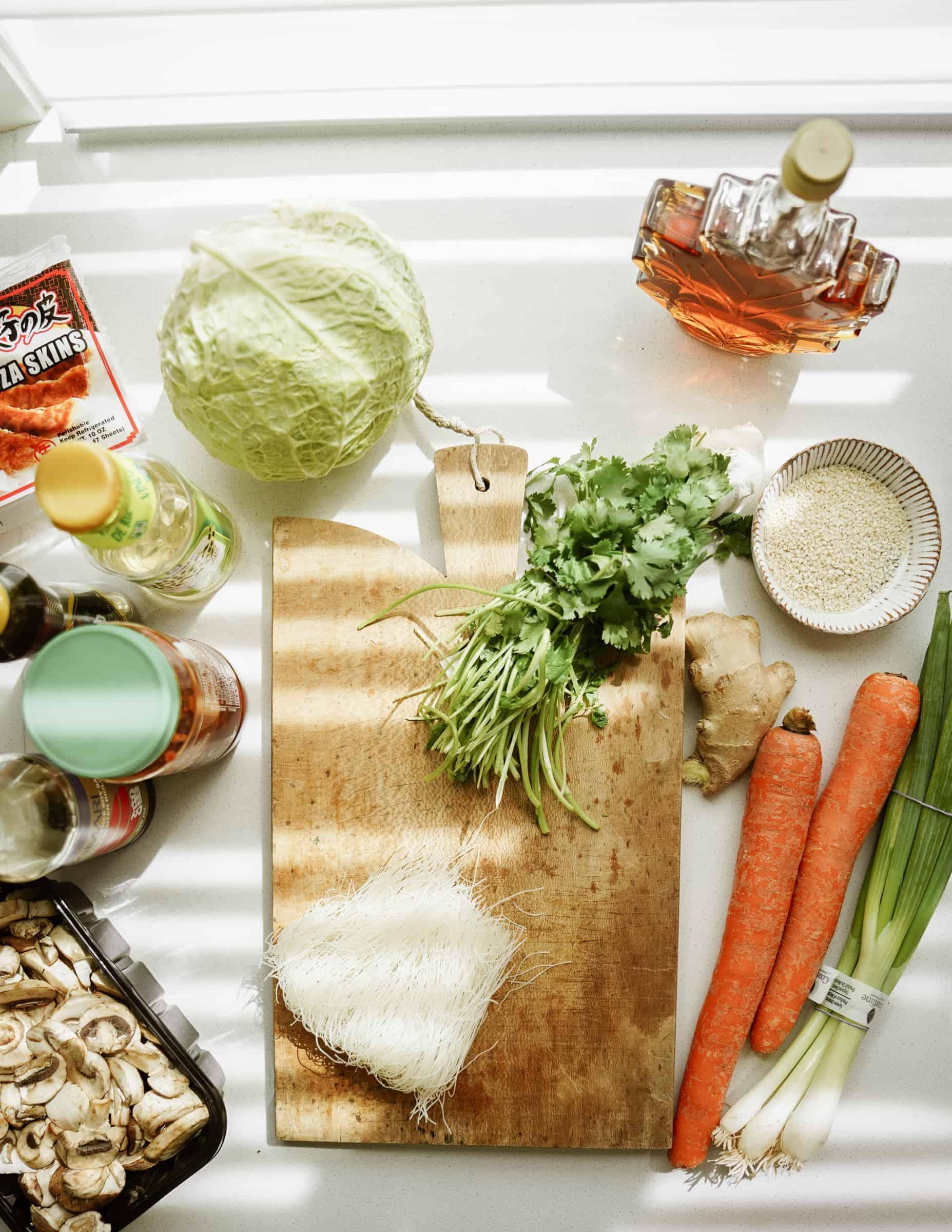 Ingredients for vegan potstickers