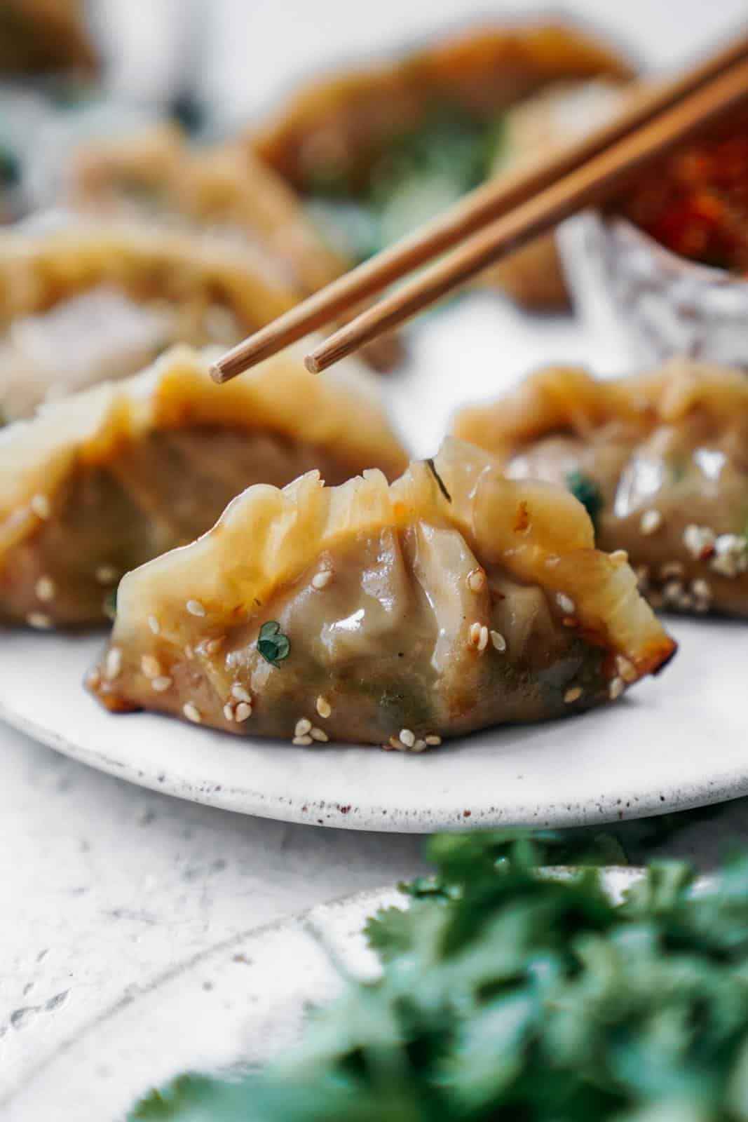 Close-up of vegan dumplings on a plate with chopsticks reaching for them.