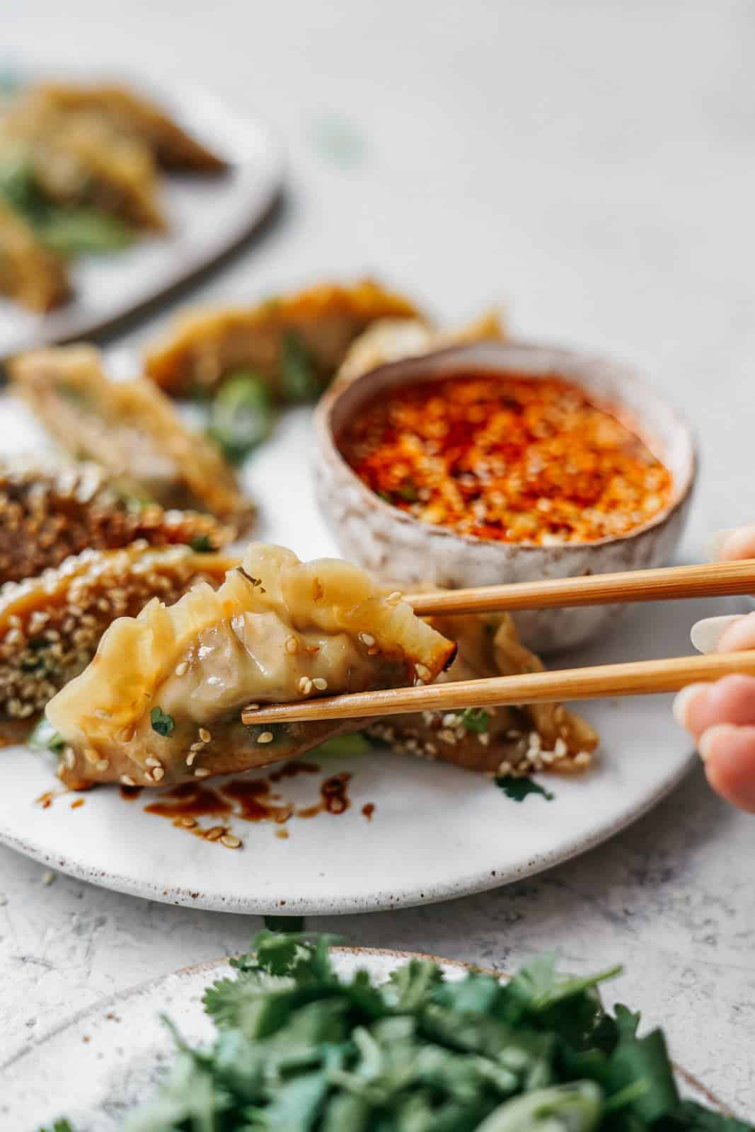 Plate of vegan dumplings with person reaching for one with chopsticks.