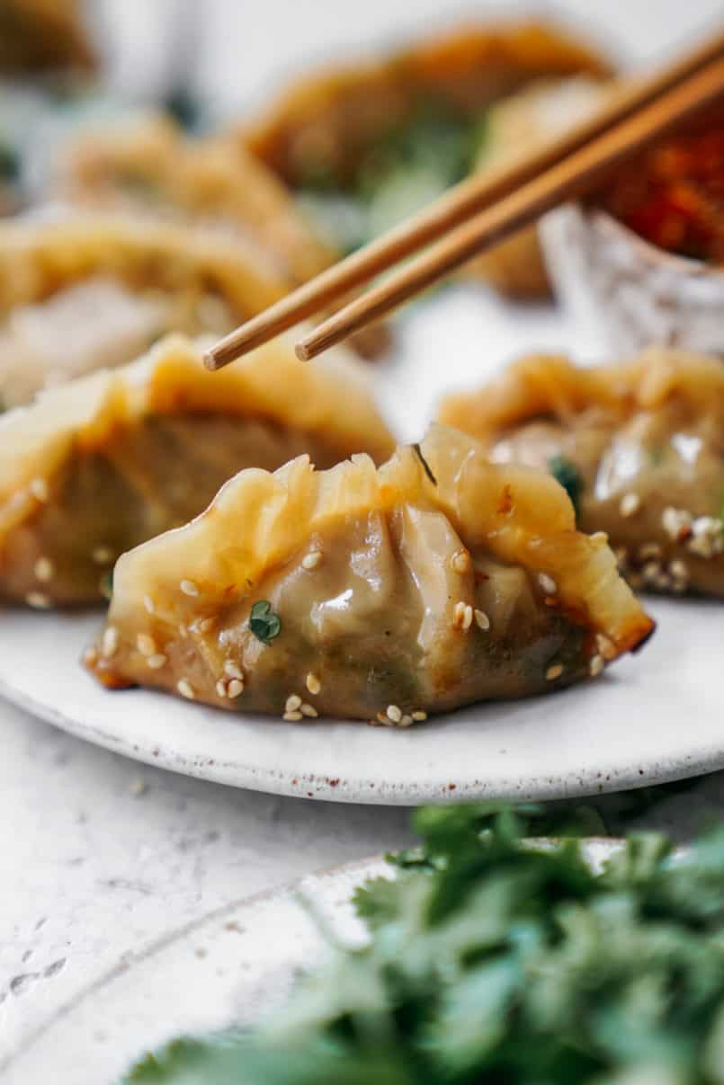 This super easy vegan potsticker recipe goes so well with my sesame chilli dipping sauce. Your whole family will love making and eating them!