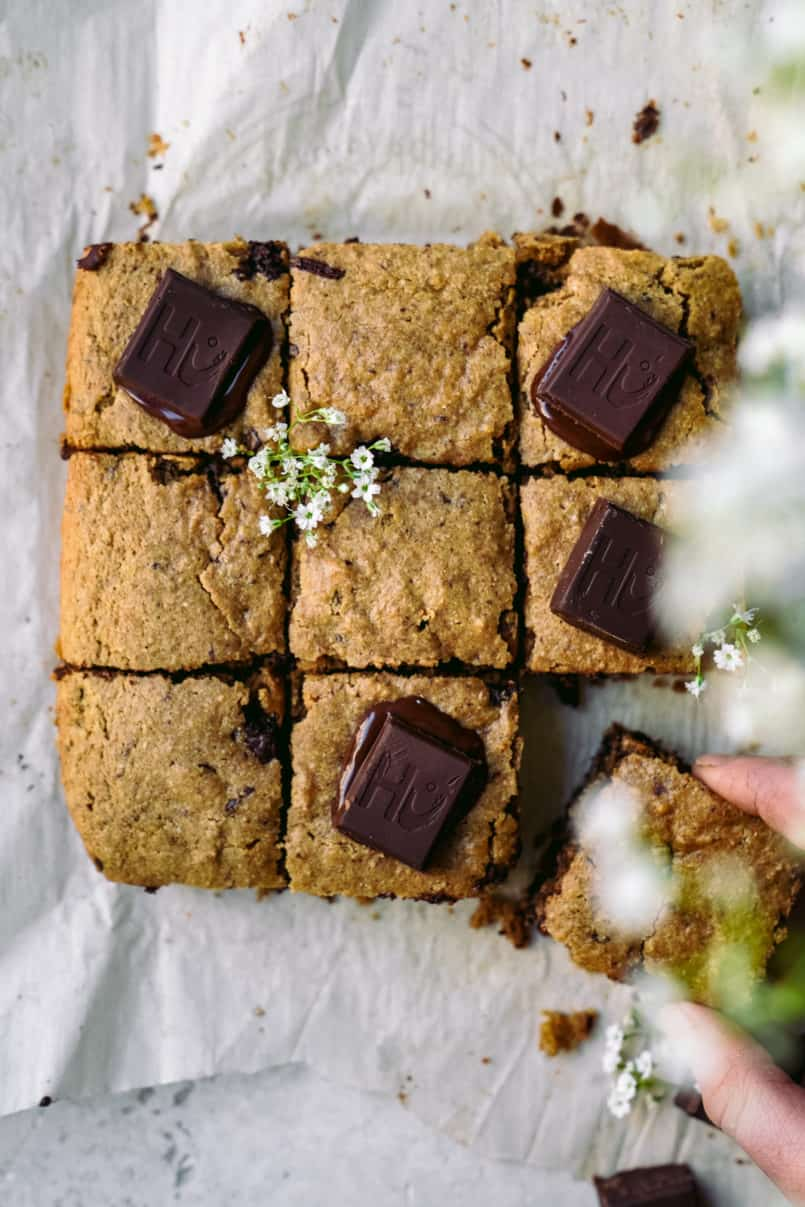 Spring is here and we are making super easy one bowl chocolate chunk vegan blondies! These vegan blondies are all the gooey, crunchy goodness you need.