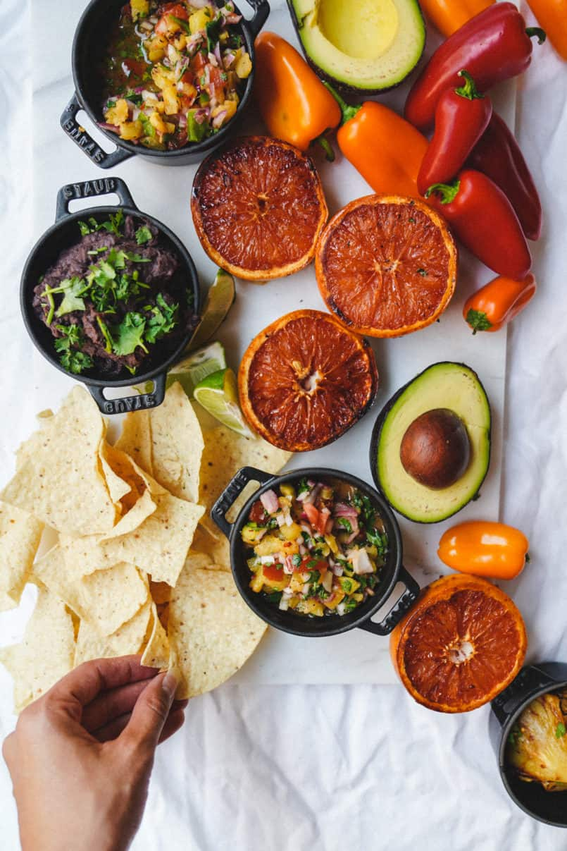 This vegan grilled pineapple salsa is super easy to put together and can be made in advance, perfect for summer family bbqs.