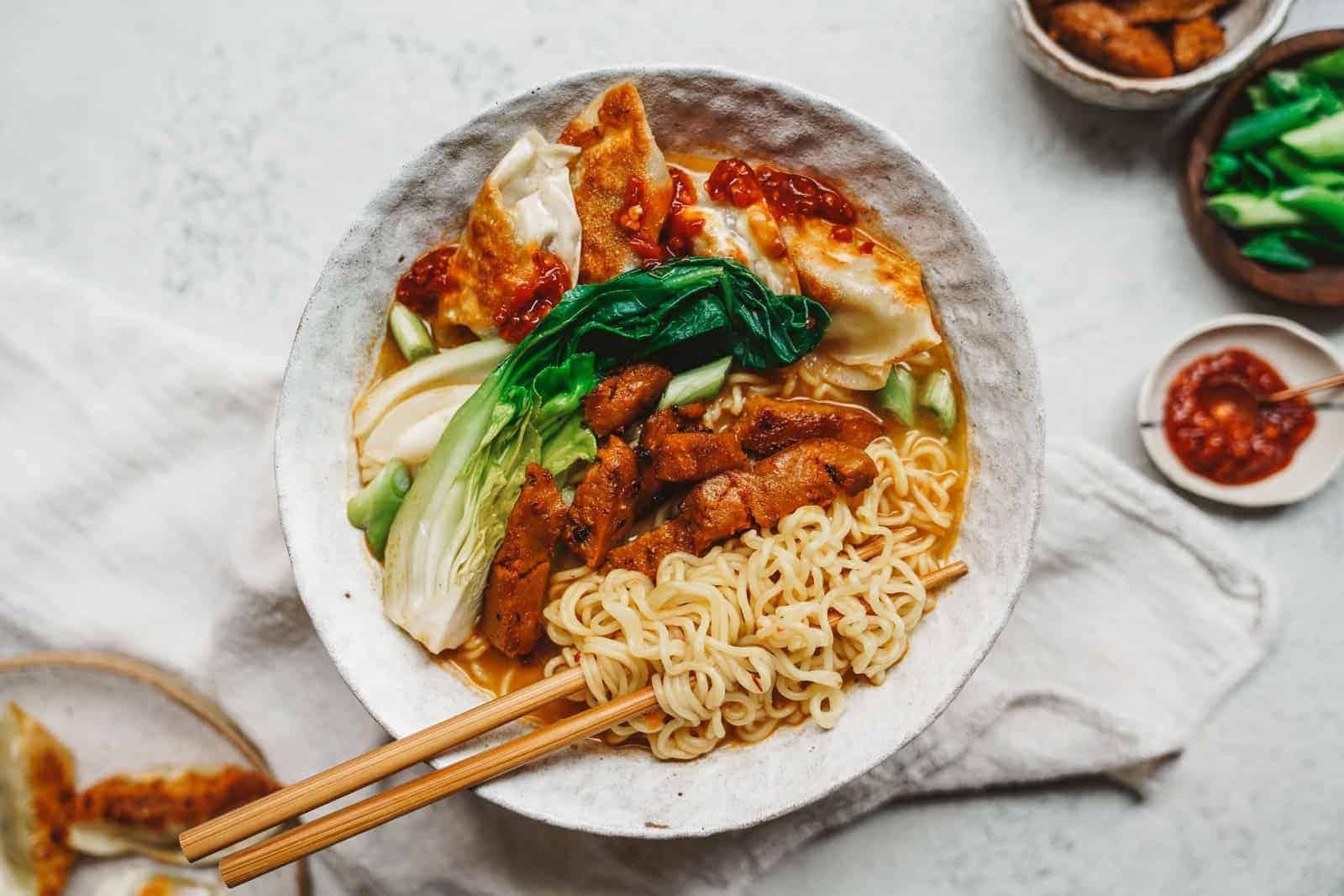 Big bowl of creamy, vegan ramen