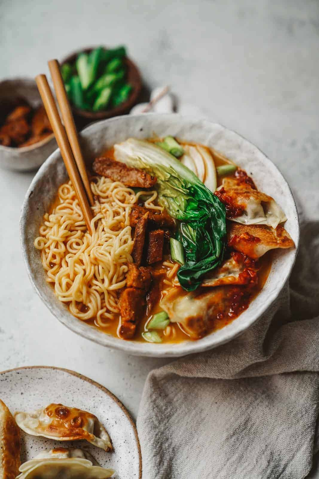 Vegan Ramen that is easy-to-make and loaded with flavour, sitting on counter ready to eat
