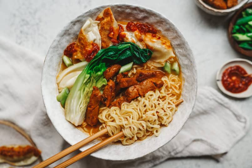 This vegan ramen has all the components of traditional ramen, but each component is prepared vegan style with no compromise on flavor.