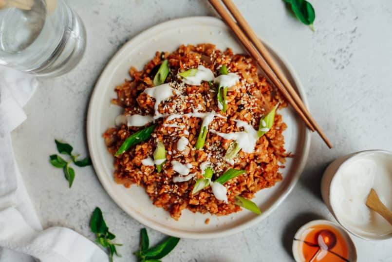 This one pot plant based kimchi fried rice is perfect to go waste free & use up those leftovers in your fridge.