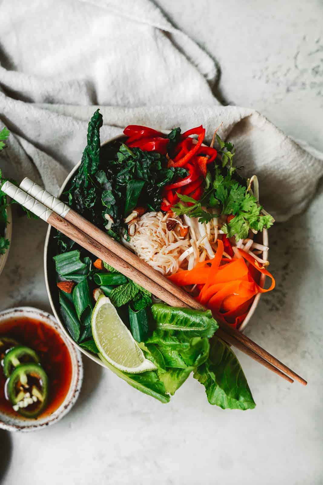 Vegan fish sauce & spring roll bowl