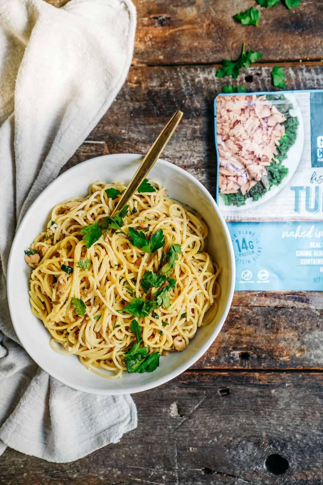Vegan tuna lemon pasta