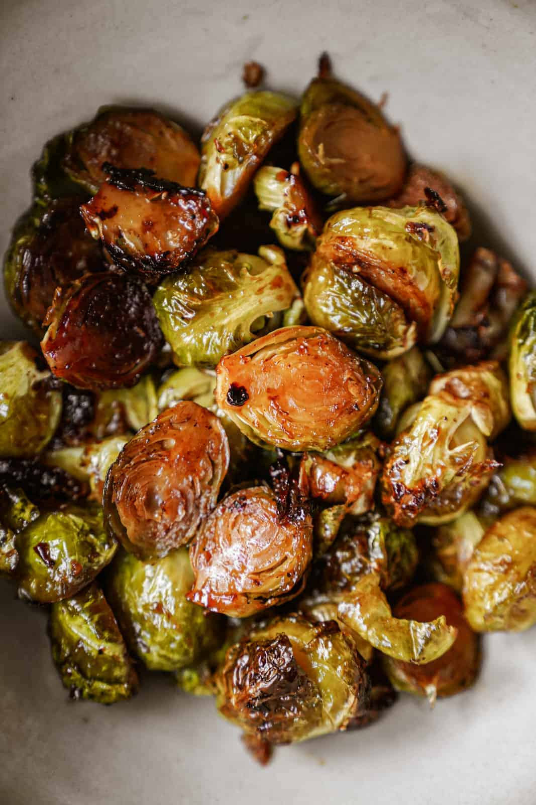 vegan brussel sprouts recipe close-up in a bowl