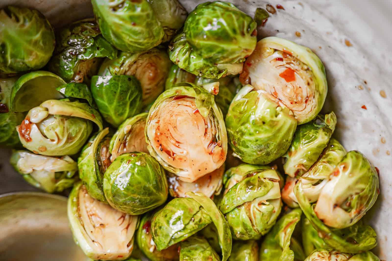 Close up of vegan brussel sprouts recipe