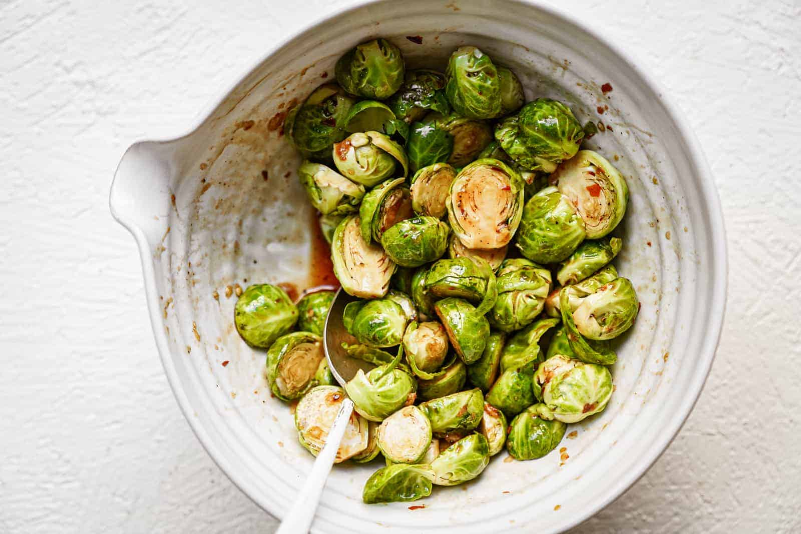 vegan brussel sprouts recipe in a bowl