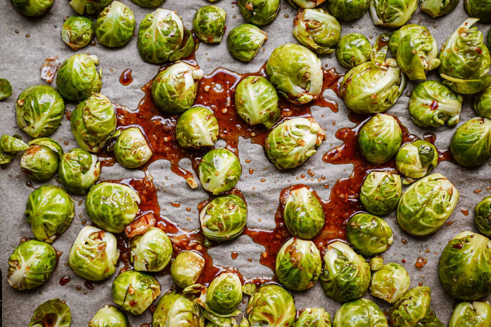 vegan brussel sprouts recipe spread out on a sheet