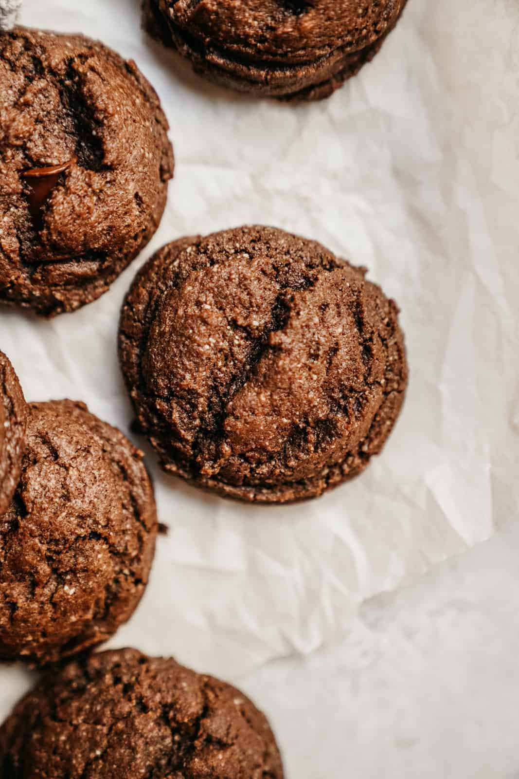 Vegan Protein Cookies up close, full of chocolate flavour.