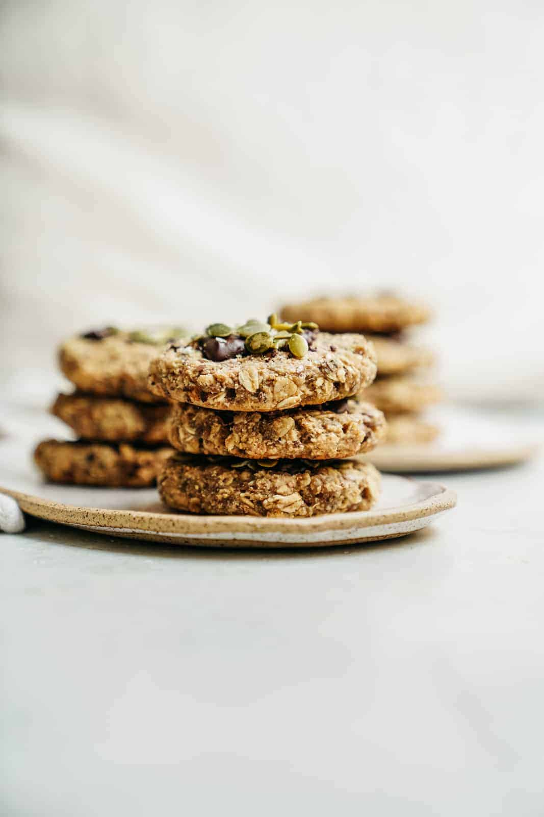 Stack of healthy breakfast cookies on a plate
