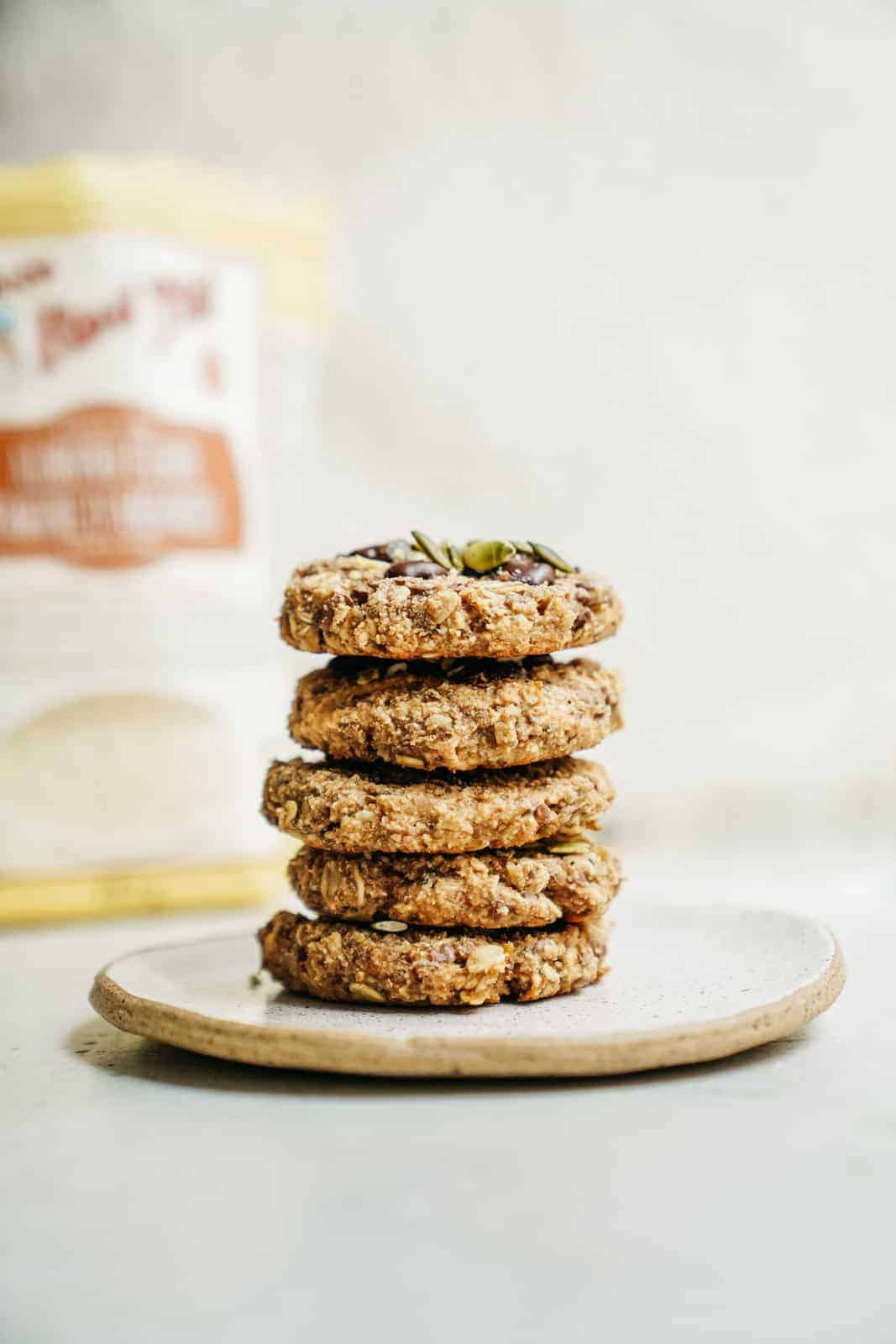Healthy breakfast cookies stacked on a plate