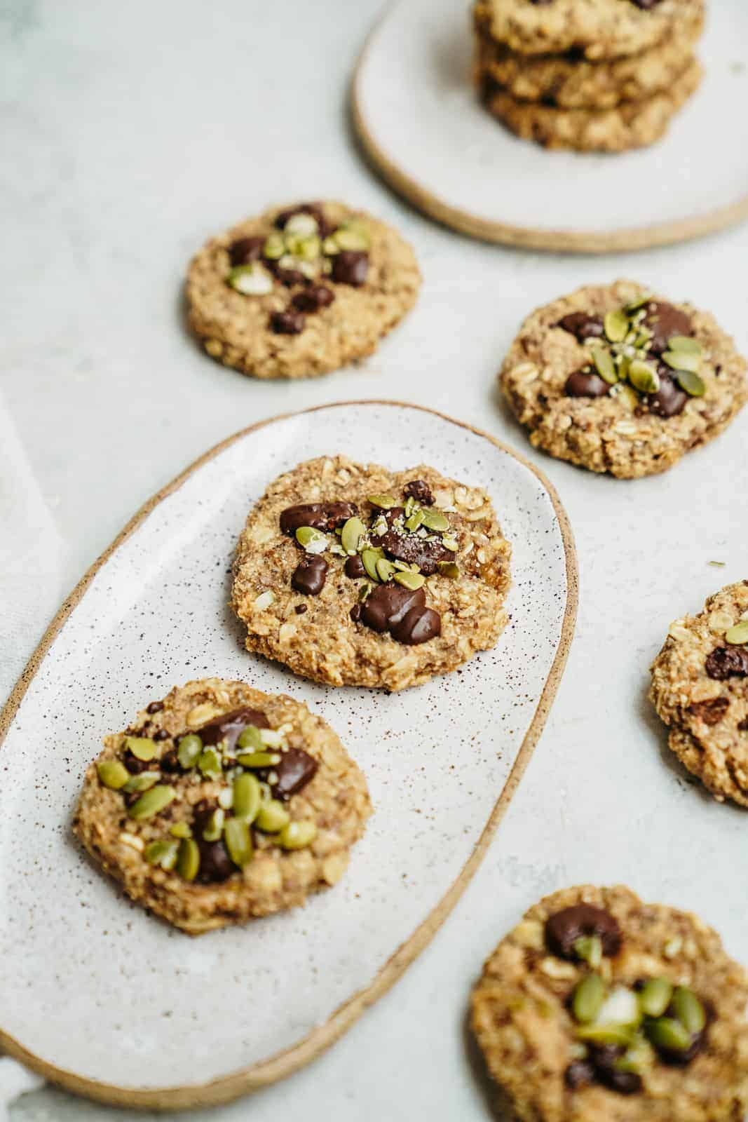Breakfast cookies on a plate and on countertop