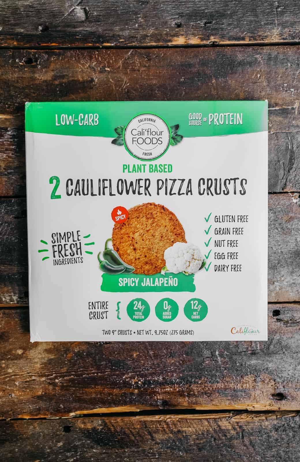 vegan cauliflower pizza crust on countertop