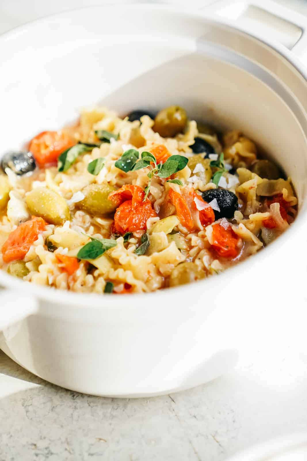 30 Minute Vegan One Pot Pasta Greek Style Foodbymaria Recipes