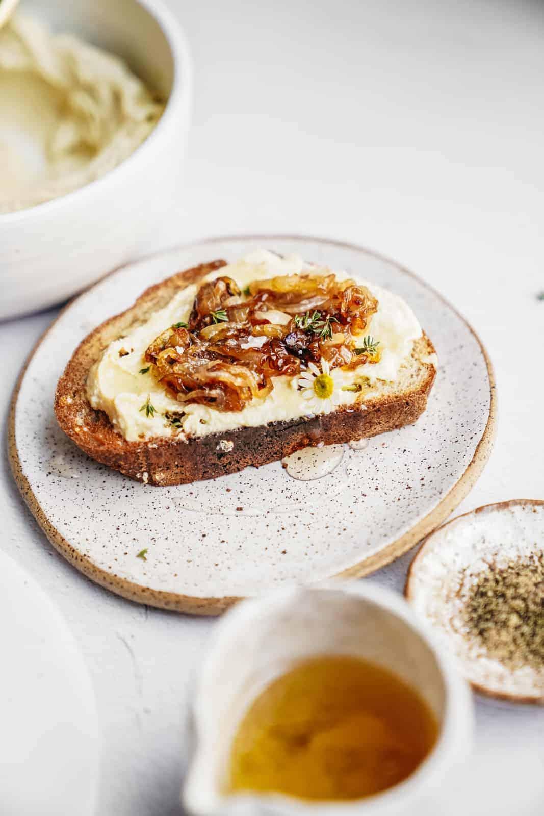 Ricotta and honey toast recipe on countertop