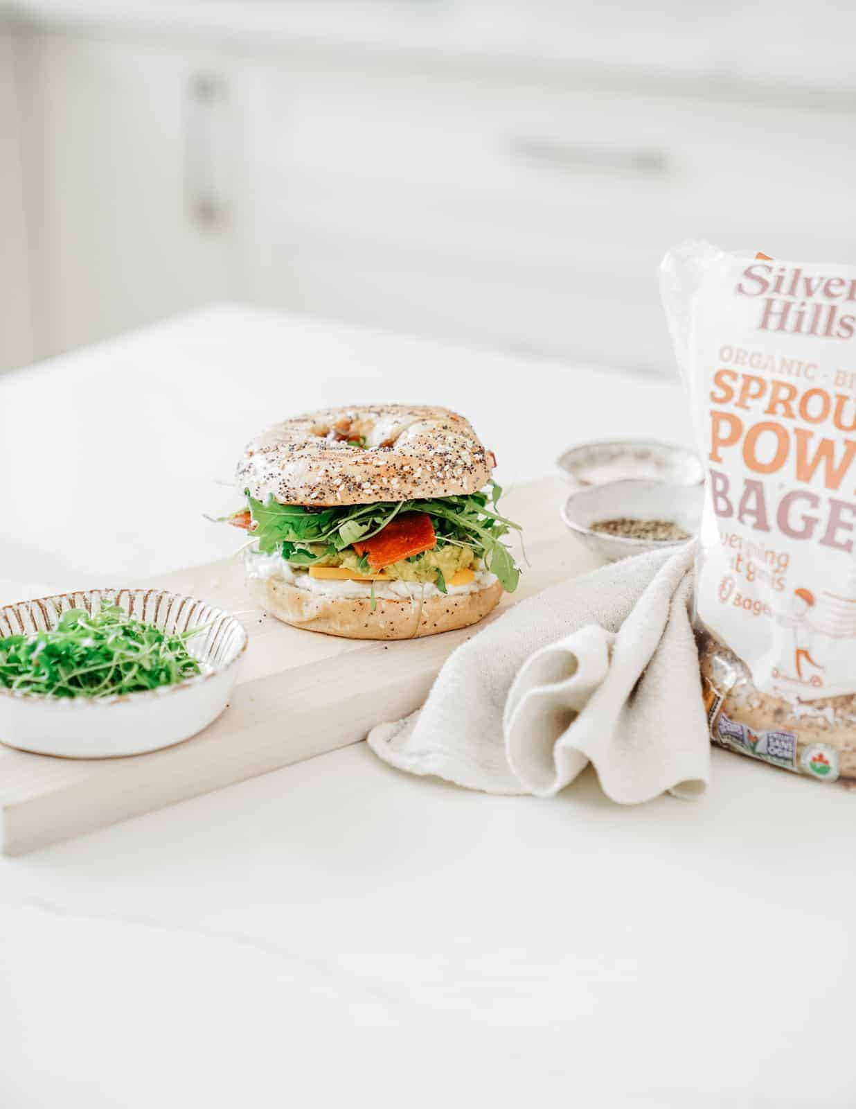 Plant-based Bagel Sandwich Recipe sitting on counter