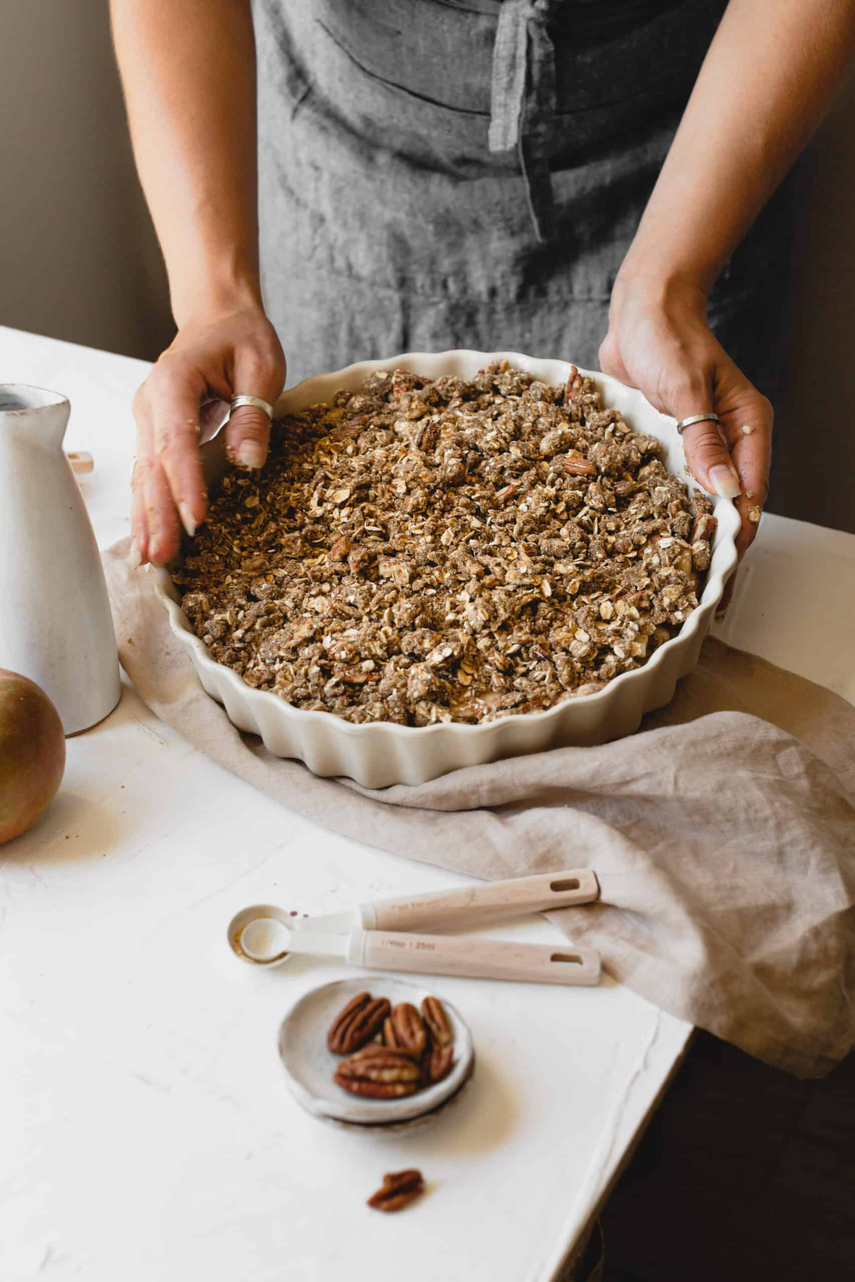The Vegan Apple Crumble ready to bake!