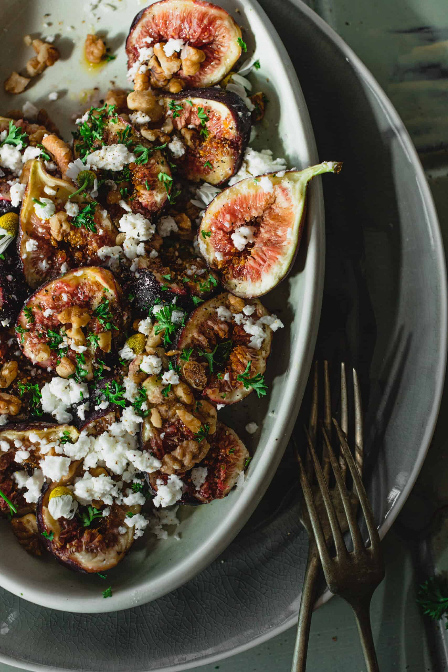 colorful bowl of Simple Fresh Fig Salad with forks ready to eat