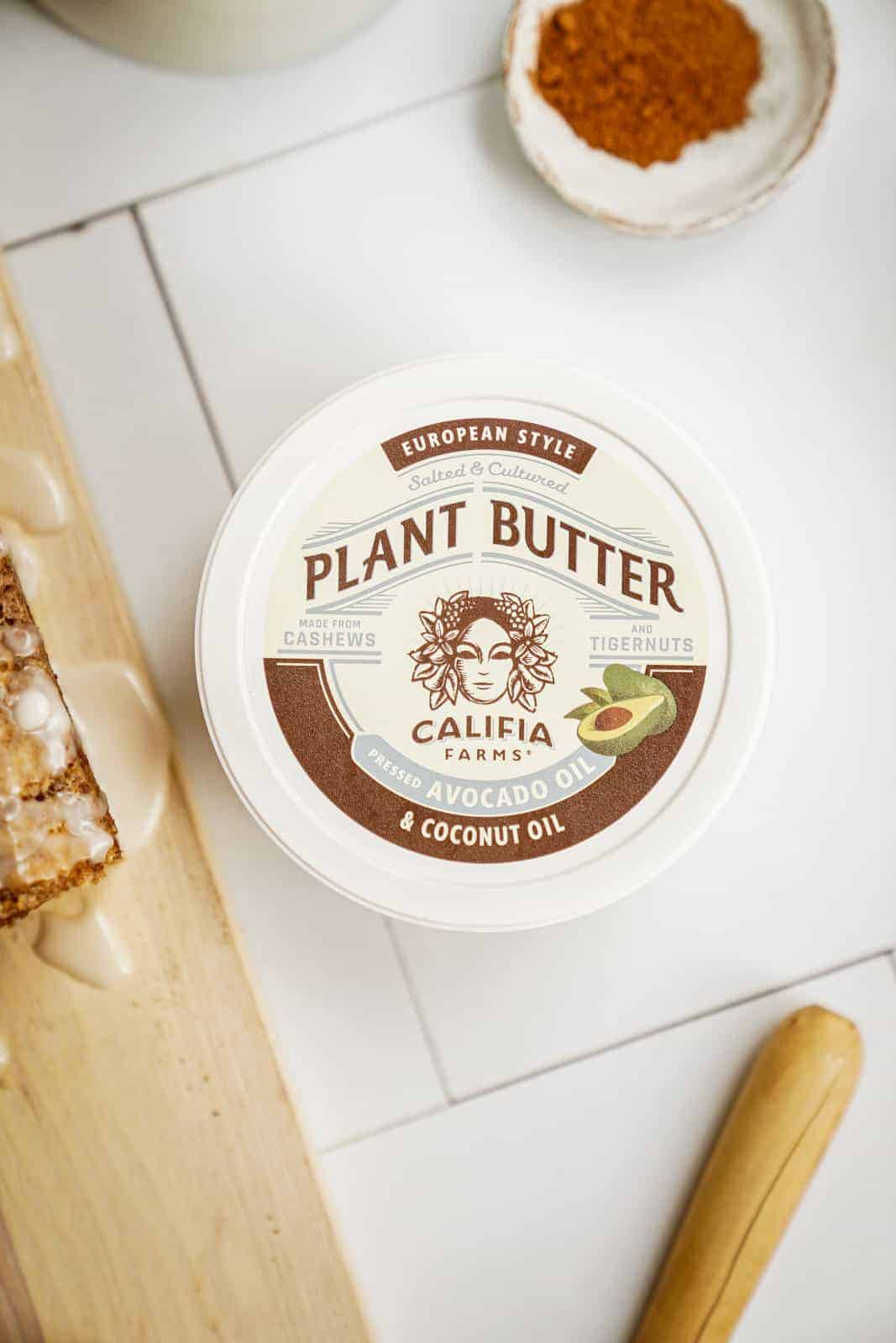 Container of Califia Farms Plant Butter on countertop