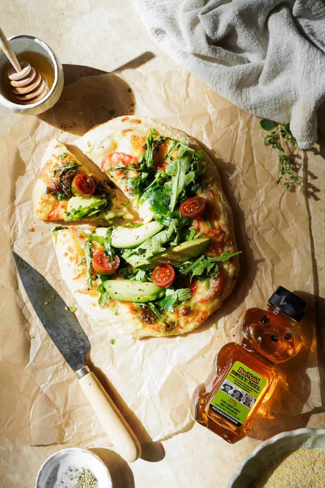 The Vegetarian Breakfast Pizza on parchment paper.