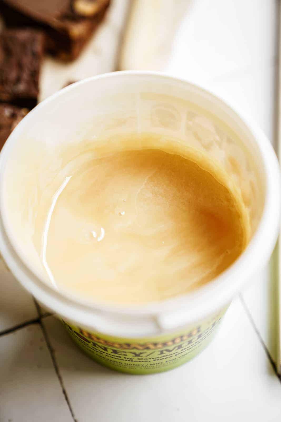 Tub of Beemaid Liquid Honey for Chocolate Peanut Butter Fudge