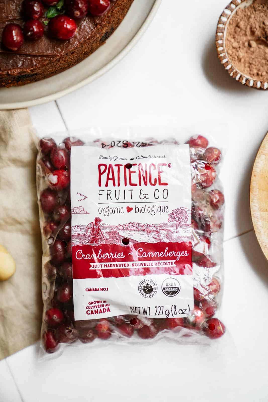 A bag of Patience Fruit & Co. cranberries.