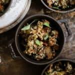 Vegan gluten-free stuffing in mini pots on counter.