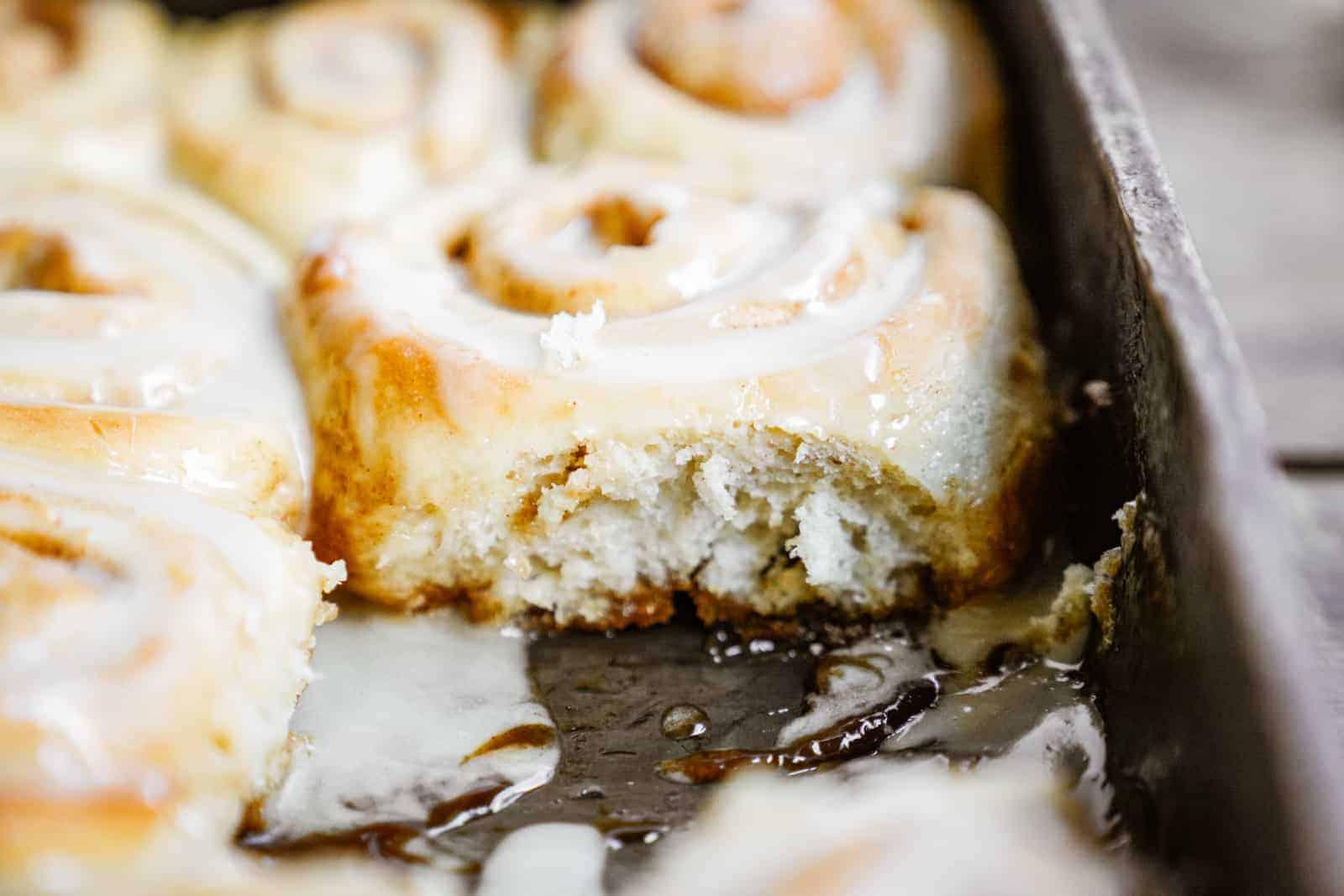 Close-up of Vegan Cinnamon Buns in baking dish.