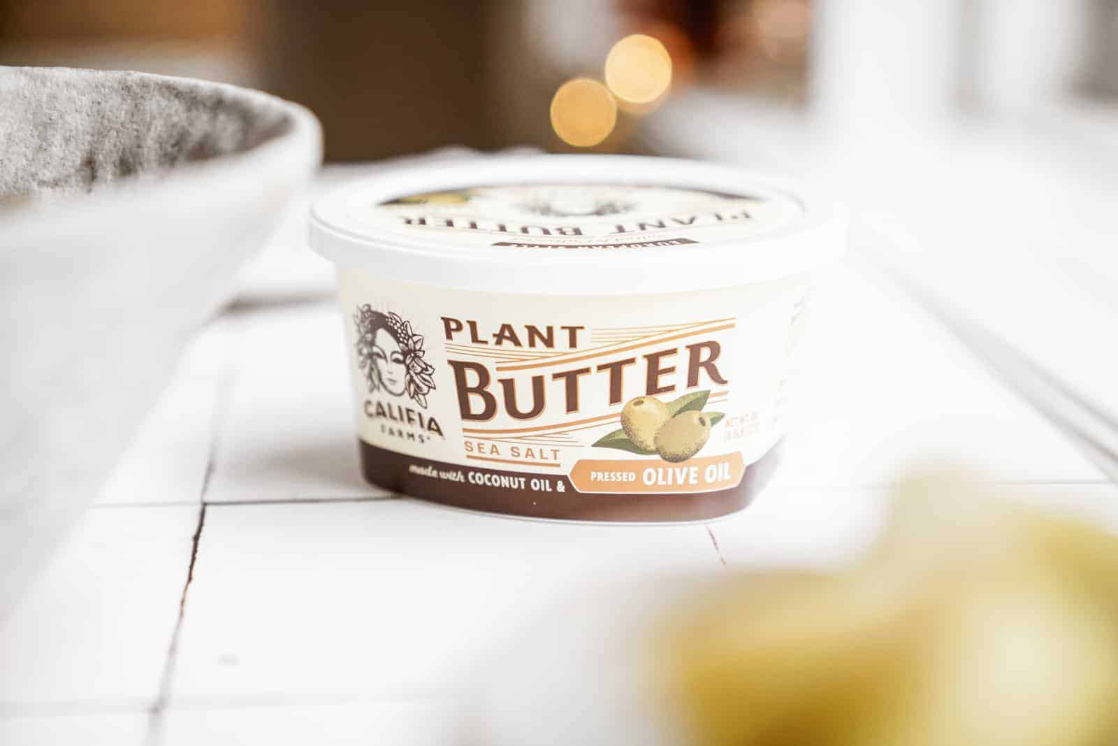 Califia Farms plant butter on countertop.