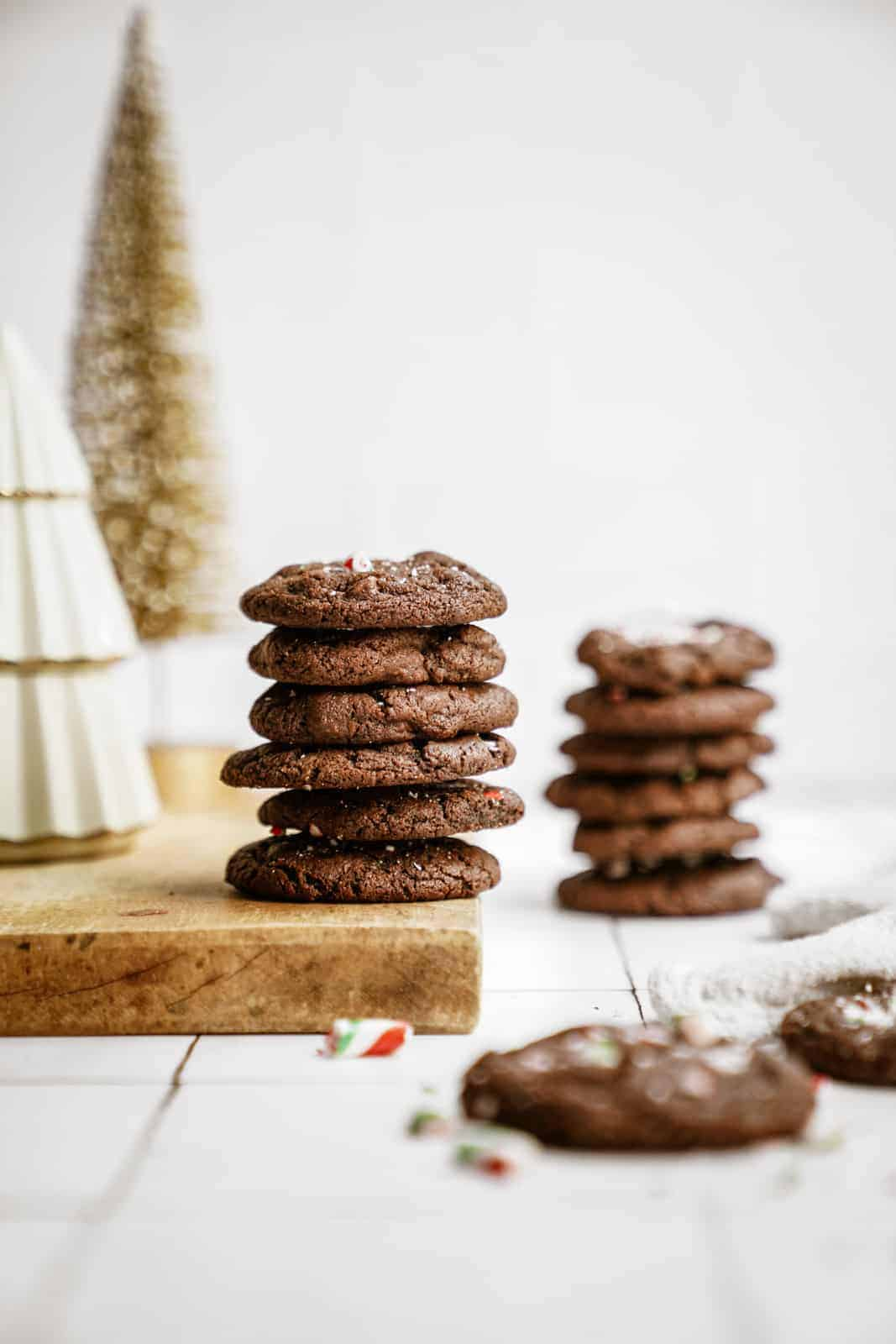Stacks of Chocolate Peppermint Cookies