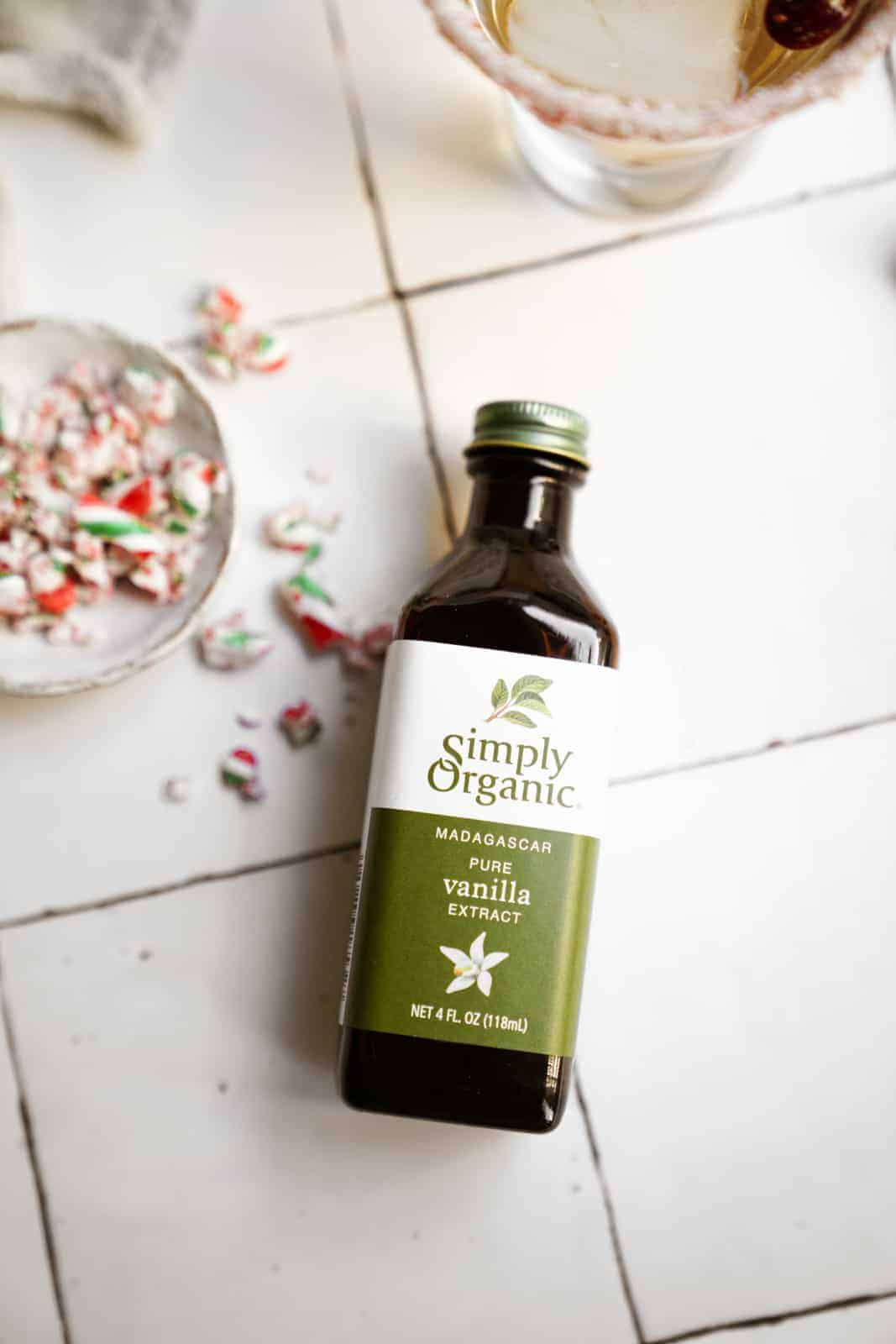 Simple Organic Pure Vanilla for Candy Cane Martinis.