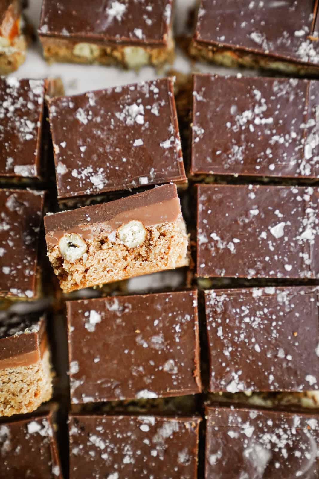 Close-up of Caramel Pretzel Bars cut into squares.