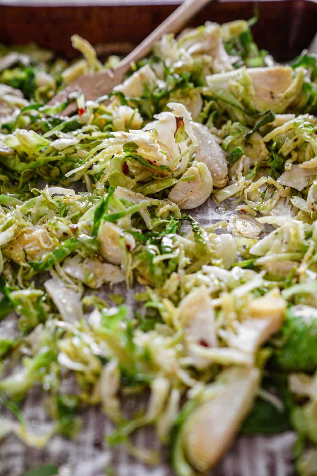 Close-up of brussel sprout caesar salad