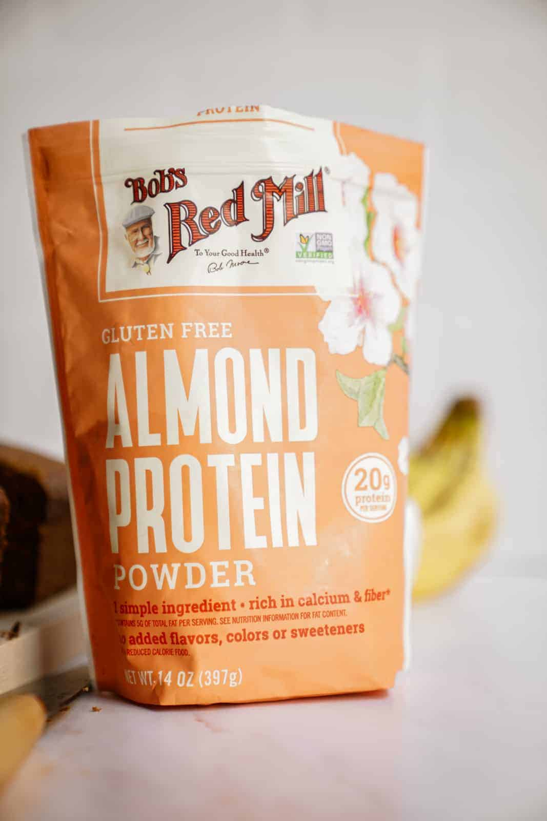 Bob's Red Mill Almond Protein Powder on counter